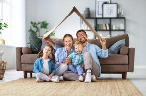 Happy family in quarantine practices healthy habits form Carrollton dentist